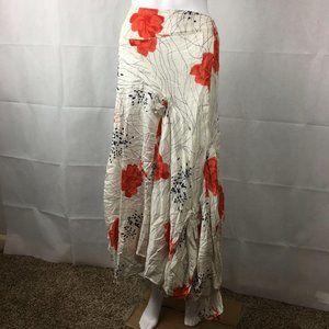 Sterling Styles Rose Print Drawstring Boho Skirt